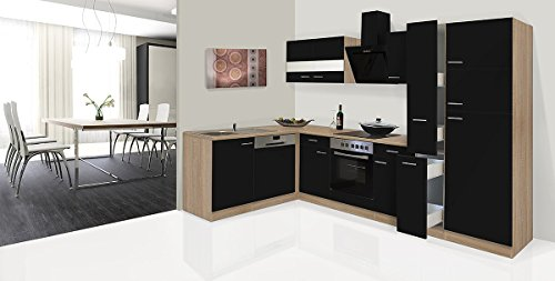 respekta Economy ángulo de l Forma de Cocina Roble Negro 310x 172cm...