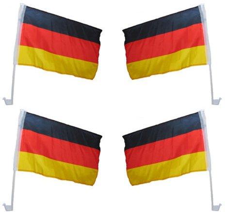 4er Set WM Autoflagge Autofahne Deutschland - hochwertig - ca. 46 x 30 cm Stab 45 cm, Fanartikel