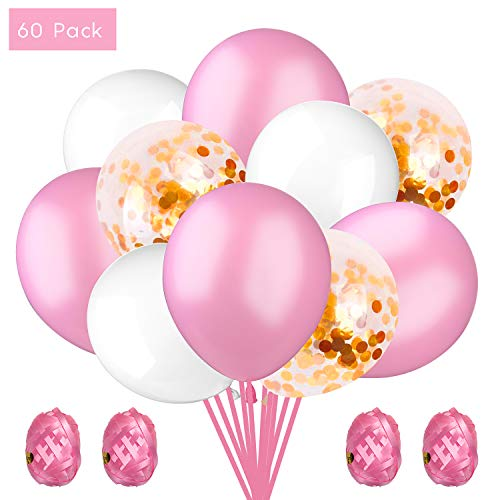 KATELUO 60 Stück Rosa Ballon Pailletten Luftballon,die zum Geburtstag Luftballon, Konfetti Ballon Premium Latex Glitter Ballon (Rosa, 60 Stück,12 Zoll / 30cm)