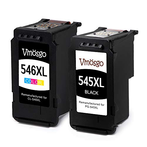 Vmosgo PG-545XL CL-546XL Remanufactured Canon 545 546 PG-545 CL-546 Druckerpatronen, für Canon Pixma MX495 MG2550 MG2555S MG3052 MG2550S MG2950S MG3050 iP2850 iP2800 iP2840 (Schwarz, Farbig)