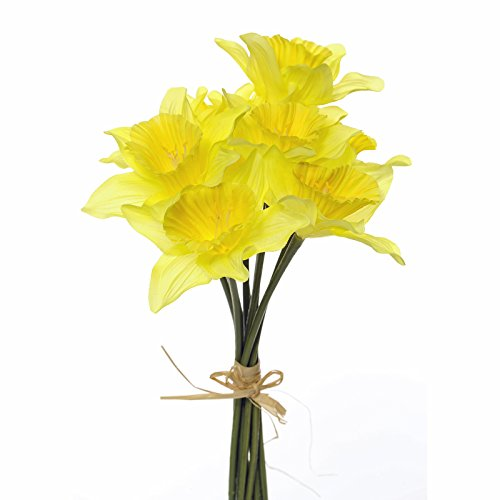 Floristrywarehouse Kunstseide Narzissen Bündel 9 Stiele realistisch gelbe Blumen 33cm