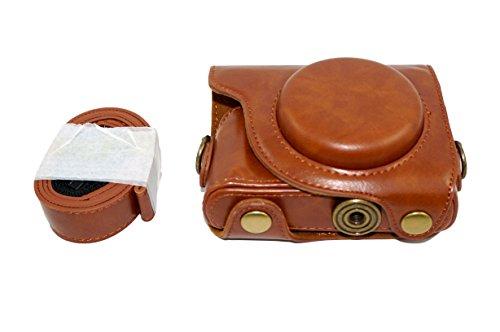 Protector PU cuero de la cámara caso bolsa con trípode Diseño compatible para Canon PowerShot G9 X (Modelo 2015) G9x con hombro Correa para el cuello de la correa de Brown