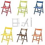 buiani 6 sedie Colorate Pieghevole Sedia in Legno Verniciato richiudibile per Campeggio casa e Giardino (Rosso, Verde,Blu,Giallo,Marrone,Arancione)