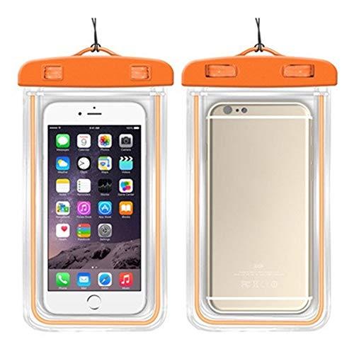 wasserdichte Handytasche Touch Fluorescent wasserdichte Handytaschen for iPhone 6S Coque Pouch Swim Handytasche Tauchen Aufbewahrungstasche Tasche Dry Cover Case (Color : Orange, Material : PVC)