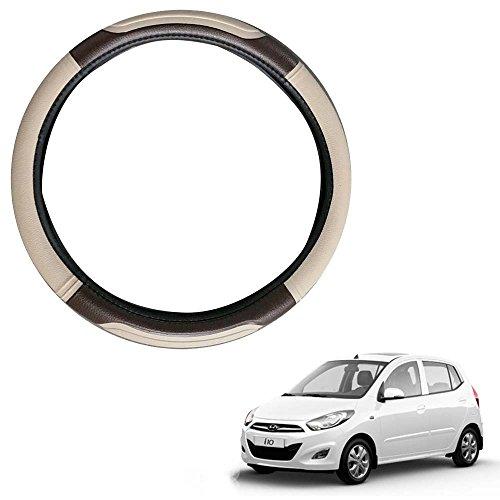 Vheelocityin Coffee and Beige Car Steering Cover for Hyundai i10/Hyundai i10 Steering Wheel Cover