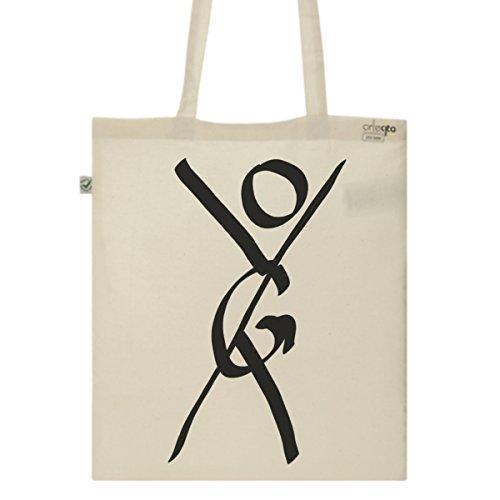Tote Bag Imprimé Ecru - Toile en coton bio - Yoga
