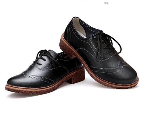 Transer® Damen Mokassins Frühling/Herbst Casual Schuh PU-Leder+Tendon Sandelholz Slipper (Bitte achten Sie auf die Größentabelle. Bitte eine Nummer größer bestellen. Vielen Dank!) Schwarz