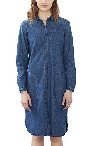 ESPRIT Damen Kleid 027EE1E018, Blau (Blue Medium Wash 902), 38 (Herstellergröße: M)