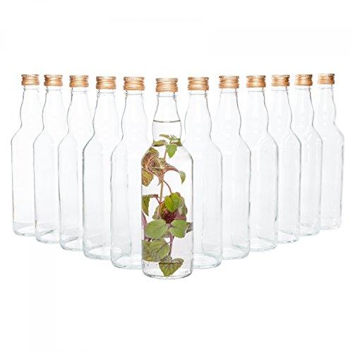 Van Well 12er Set Glasflaschen mit Schraubverschluss Venezia | befüllbare Flasche 0.5L für Likör, Schnaps & Bier Flasche Gläser