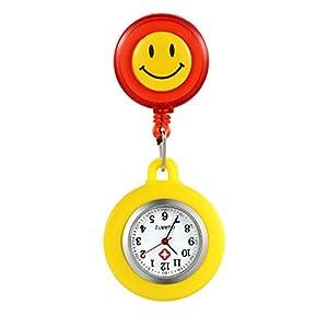 LANCARDO Uhren, Silikon Krankenschwester Armbanduhr FOB-Uhr Damen Lächeln Digitale Analog Revers Stretch verstellbar Länge Taschenuhr