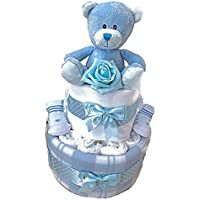 Baby Boys New Baby 2 Tier Nappy Cake Baby Shower New Mum Gift Hamper- Free DELIVERY!