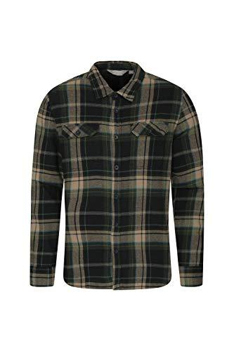 Mountain warehouse trace camicia a manica lunga in flanella uomo - 100% cotone, leggera, traspirante - perfetta per viaggi e passeggiate verde scuro large