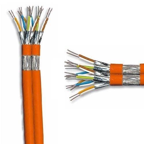 SCENetwork Duplex Verlegekabel Cat7 25m, orange, Netzwerk Kabel Cat.7 25m Installationskabel KAT7 Netzwerkkabel 1000Mhz 10 Gigabit zum Anschluss an Netzwerkdosen, Patchpanels und Modulen -