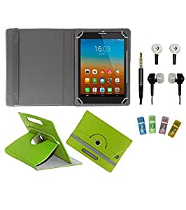 Gadget Decor (TM) PU Leather Rotating 360° Flip Case Cover With Stand For swipe Ace + Free Handsfree (Without Mic) + Free USB Card Reader - Green