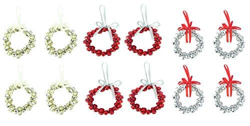 Confezione da 12–8cm oro, rosso e argento campane mini corona decorazioni per albero di natale