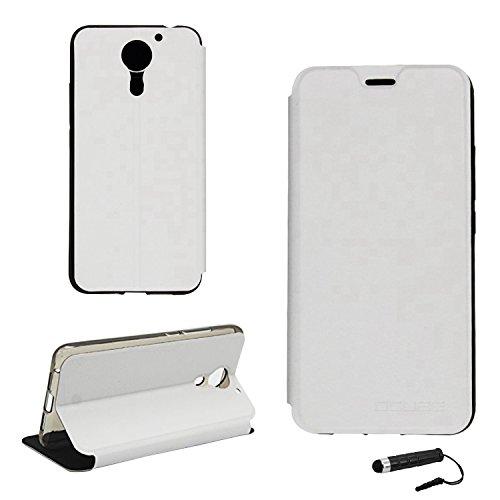 Tasche für UMIDIGI plus / UMIDIGI Plus E Hülle, Ycloud PU Ledertasche Metal Smartphone Flip Cover Case Handyhülle mit Stand Function Weiß
