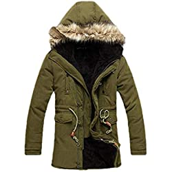 CuteRose Men's Hoode Thicken Slim Fit Warm Mid-Long Winter Collar Jacket Army Green M