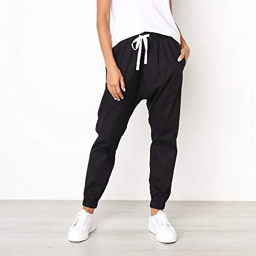 Damen Freizeit Hose,Haremshose Loose Trainingshose Frauen Casual Solid Straight Leg Hosen Bund Bandage Mid-Waist Hosen lace-up Hosen S-XL -