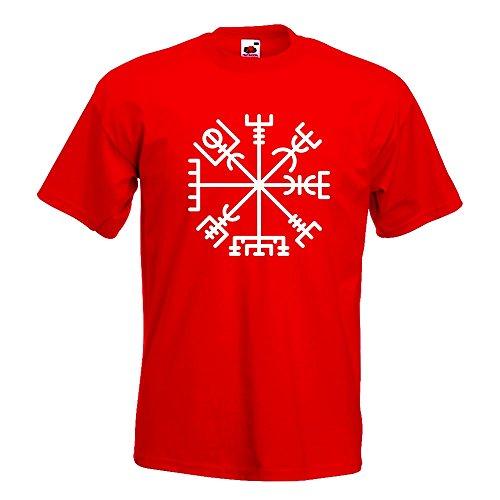 KIWISTAR - Vegvisir - Runic Compass T-Shirt in 15 verschiedenen Farben - Herren Funshirt bedruckt Design Sprüche Spruch Motive Oberteil Baumwolle Print Größe S M L XL XXL Rot