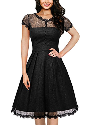1950s Retro Vintage Rockabilly Kleid Cocktail Swing Party kleider (Circle Rock Lace)