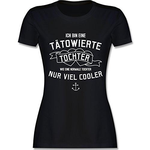 Typisch Frauen - Ich Bin eine Tätowierte Tochter - XXL - Schwarz - L191 - Damen T-Shirt Rundhals (Ich Herz Tätowiert Mädchen)