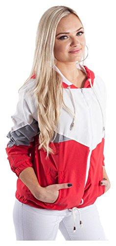 Blouson Damen Übergangsjacke Windbreaker Jacke Kapuzenjacke Colorblock Rot L