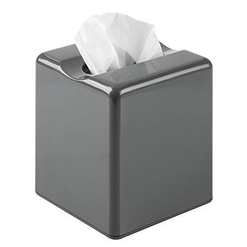 mDesign Fundas para cajas de pañuelos – Práctico dispensador de pañuelos para el baño o la oficina – Modernas cajas para pañuelos de papel – gris