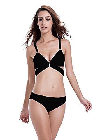 zeraca Maillot de bain dos nu Sangle amovible pour - Noir - Medium