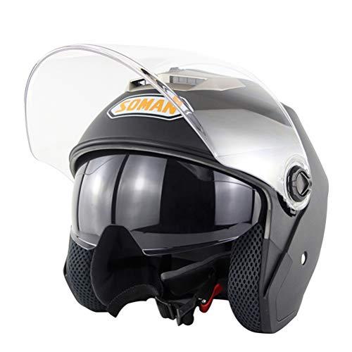 OD-B Casco Moto Integrale Motocicletta Scooter Caschi Motorino Doppia Visiera Casco Antiurto DOT per Uomini E Donne Adulti,Matteblack,L