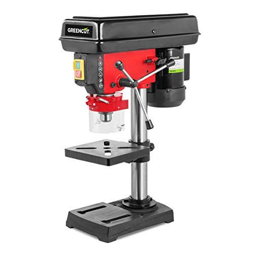 Greencut 8435574309204 Trapano a colonna 600 W Potenza 5 velocità 50 mm perforazione, Rosso