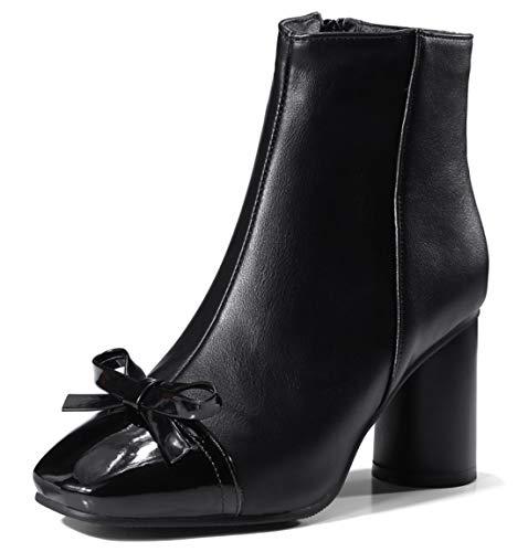 SERAPH SHOES C764 Damen Blockabsatz Stiefeletten Square Toe Zip Stiefel,Black,38EU - Black Square Toe Cowboy-stiefel