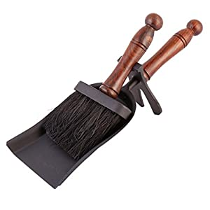 Wrought Iron Manor Fireside Hearth Set Tidy Set Brush and Shovel - L36cm x W 13.5cm x H16cm