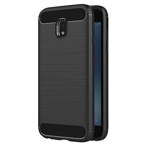 AICEK Funda Samsung Galaxy J3 2017, Negro Silicona Fundas para Samsung J3 2017 Carcasa Galaxy J3 2017 Fibra De Carbono Funda Case (5,0 Pulgadas SM-J330F)