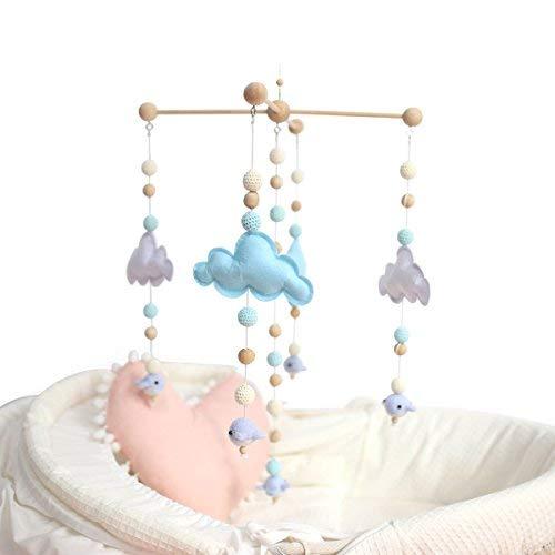 baby tete Babybett Mobile Bett Glocke Rassel Spielzeug Weiß und Blau Cloud Cot Mobiles Hölzernes Windspiel Zelt Hängen Baby Dusche Geschenk Wohnkultur