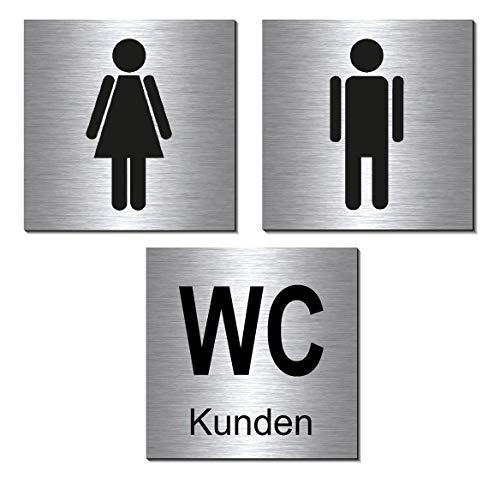 3er Set-WC-Kunden-Toiletten-Bad-Klo-Symbol-Schild 100 x 100 x 3 mm-Aluminium Edelstahloptik silber mattgebürstet Hinweisschild-Warnschild-Set 19