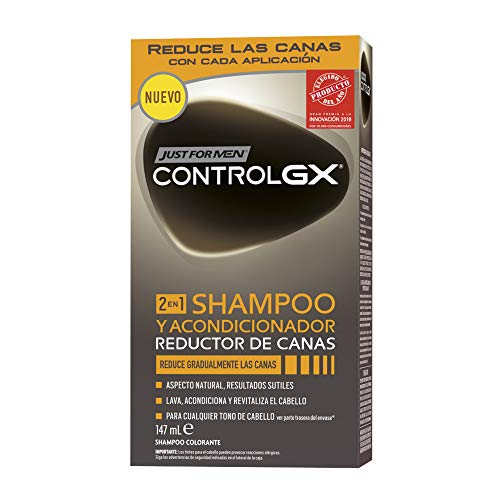 Just For Men, Control GX Champú Reductor de Canas para Hombres, 2en1 champú y acondicionador. Reduce...