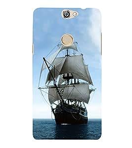 Fiobs Designer Phone Back Case Cover Coolpad Max ( Sailing Ship Blue Sky )