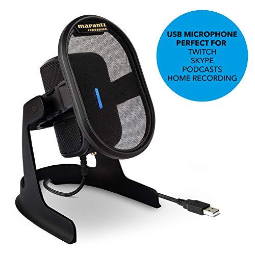 Marantz Professional Umpire - Microfono da Tavolo a Condensatore USB con Schermo Antipop Integrato, Sospensione Elastica per Cattura Audio Professionale, Trasmissione, Streaming, Skype e Conferenze