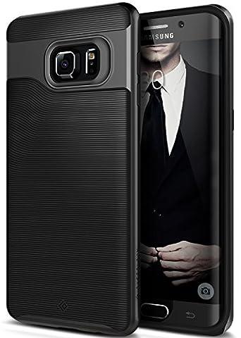Coque Galaxy S6 Edge Plus, Caseology [Série Wavelength] Ultra Mince Protection à double couche résistant aux chocs [Noir - Black] Housse Etui Coque pour Samsung Galaxy S6 Edge Plus