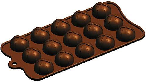 Silicone Bakeware, molde de silicona para bombones, gelatina, hielo, tartas, jabón, diseño redondo, 15 cavidades, marrón