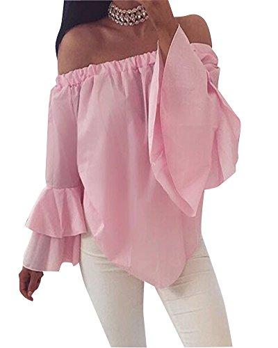 Camicetta Blusa Manica Lunga Casual Pizzo Elegante Cotone Off Shoulder T-shirt Maliga Donna Pink