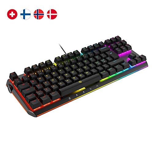 Preisvergleich Produktbild DREVO BladeMaster TE Mechanische Gaming Tastatur RGB 88K Nordic-Layout [Linearer Lautloser Gateron Roter Schalter]