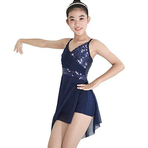 MiDee Mädchen V-Neck Paillettenbesetzte Hoch-Niedrig Latin Dress Lyrischen Tanz - Kostüm (Marineblau, XLA)