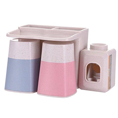 MOISO - Dispensador automático de pasta de dientes con ventosa súper adhesiva para montar en la pared, diseño de paja de trigo natural antipolvo con vasos de gargle y manos libres, silicona, beige, 2 Cups