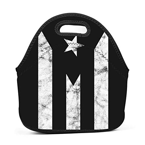 Dozili Thermo-Lunchtasche mit Boricua-Flagge, groß und dick, Neopren, isoliert, Kühltasche, warm, mit Schulterriemen für Damen, Teenager, Mädchen, Kinder, Erwachsene