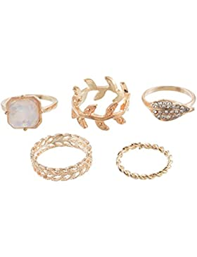 MJARTORIA Herren Damen Vintage Boho Schmuck Set Ring Gold Farbe Edelstahl Türkis