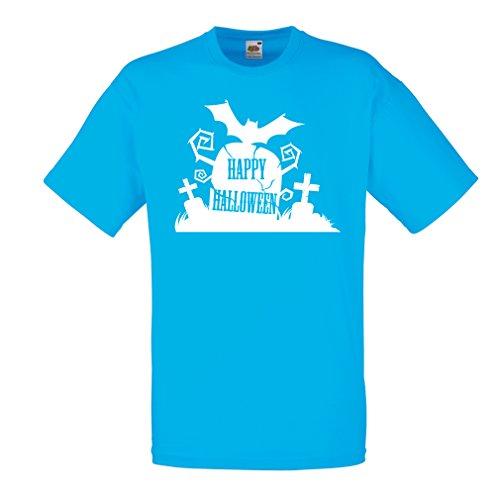 Männer T-Shirt Halloween-Friedhof - Kostüm-Ideen - Coole Kleidung Horror-Design - All Hallows 'Abend (Small Blau Mehrfarben)