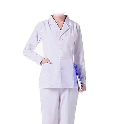 WDF laborkittel kittel medizinische kittel weiß arztkittel weiße damen langärmelige kurze unterabschnitt button handschellen