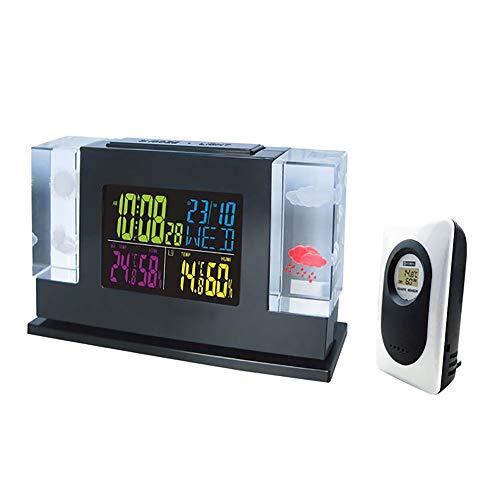 XXLYY Funkwetterstation Mit Sensor, Digital Innen AußEn Thermometer Hygrometer Mit Kalender LED Bunte Alarm Hintergrundbeleuchtung Wettervorhersage FüR Schlafzimmer Hause BüRo -