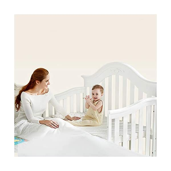 DUWEN-Cot bed Solid Wood Multifunctional Baby Cot European Toddler Bed Game Bed Sofa Bed Children's Bed (color : White) DUWEN-Cot bed 1. Multi-functional crib is the best gift for your baby. It not only can make your baby have a better sleep experience, but also cultivate your baby's independent consciousness and exercise your baby's hand and foot coordination ability. It is your best choice. 2. The multi-functional crib is made of environmentally friendly pine wood, which is tough and durable, not easy to crack and deform, and has a bearing capacity of over 120KG. 3. The crib is safe and environmentally friendly, non-irritating, harmless to the baby, mother can buy with confidence 4